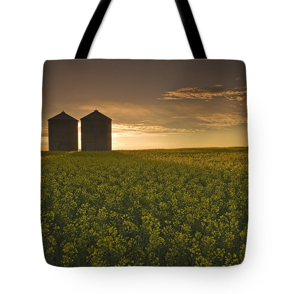 Bloom Stage Canola Field With Grain Tote Bag by Dave Reede