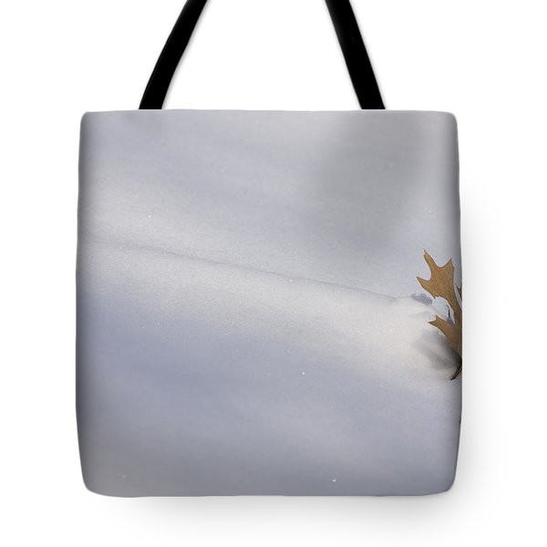 Blown Snow And Oak Leaf Tote Bag
