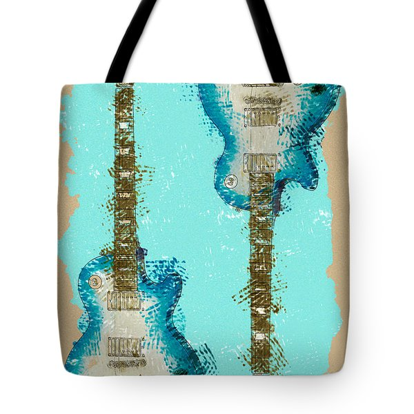 Blue Abstract Guitars Tote Bag by David G Paul