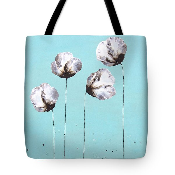 Blue And Brown Flower Painting Felicity Tote Bag by Catherine Jeltes