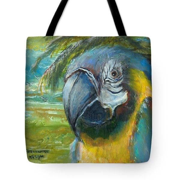 Blue And Gold Macaw By The Sea Tote Bag