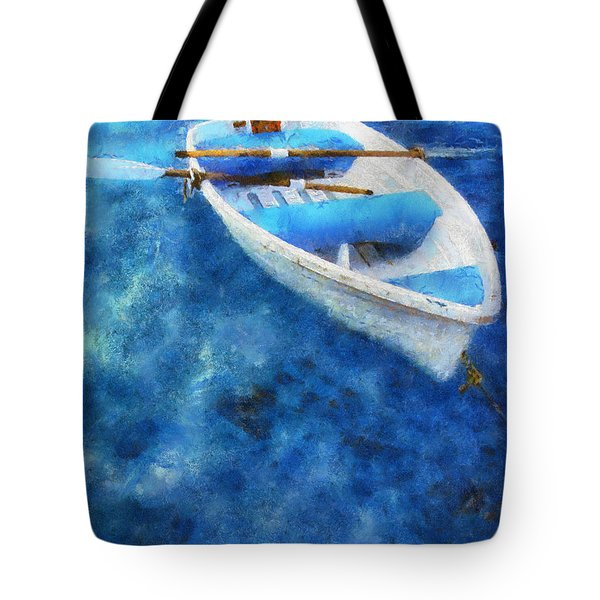 Blue And White. Lonely Boat. Impressionism Tote Bag by Jenny Rainbow