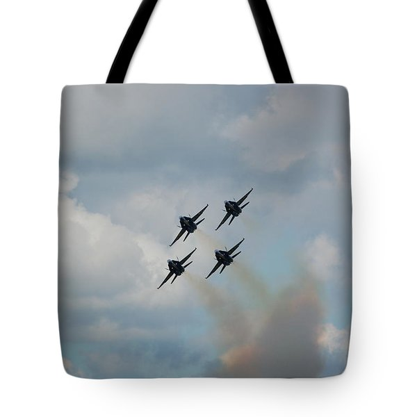 Blue Angels Roaring By Tote Bag by Randy J Heath