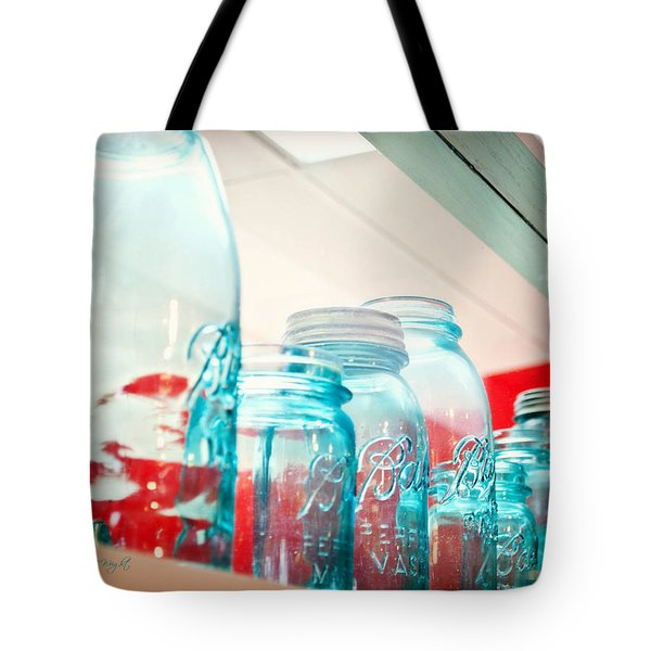 Blue Ball Canning Jars Tote Bag by Paulette B Wright