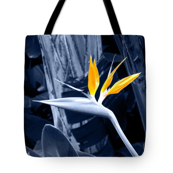Blue Bird Of Paradise Tote Bag by Rebecca Margraf