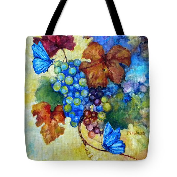 Blue Butterflies And Grapevine  Tote Bag by Peggy Wilson