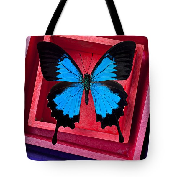 Blue Butterfly In Pink Box Tote Bag by Garry Gay