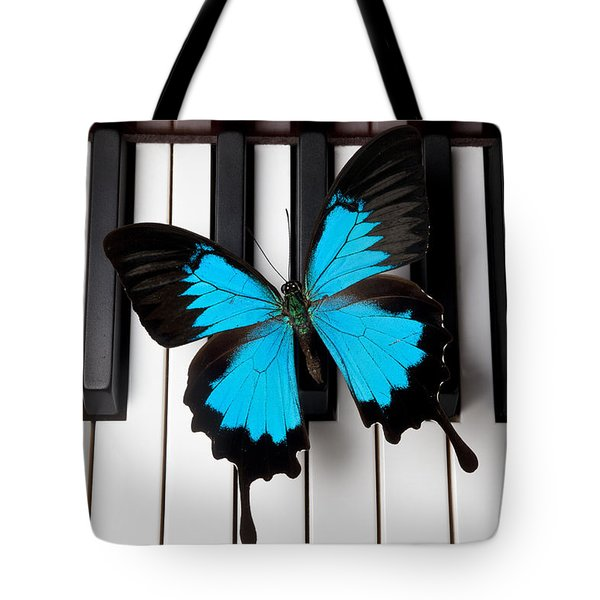 Blue Butterfly On Piano Keys Tote Bag by Garry Gay