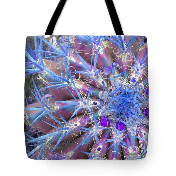 Blue Cactus Tote Bag by Rebecca Margraf