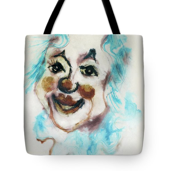 Blue Collar Clown Face With Red Nose And Lips Raised Eyebrows Smile   Tote Bag by Rachel Hershkovitz