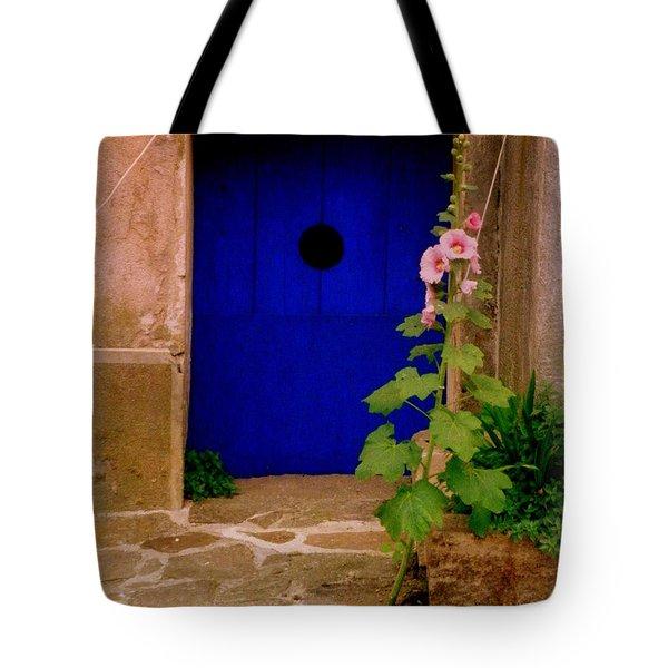 Blue Door And Pink Hollyhocks Tote Bag