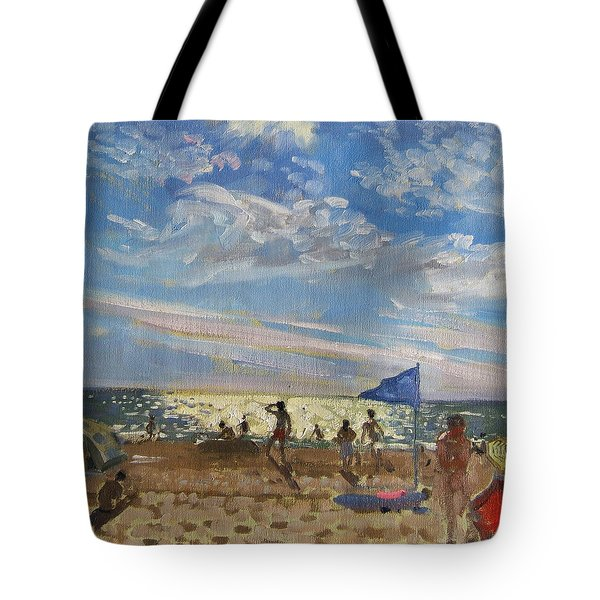 Blue Flag And Red Sun Shade Tote Bag by Andrew Macara