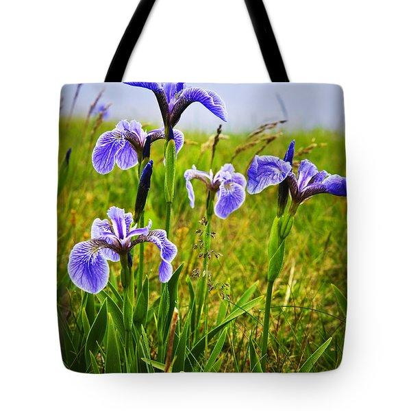 Blue Flag Iris Flowers Tote Bag by Elena Elisseeva