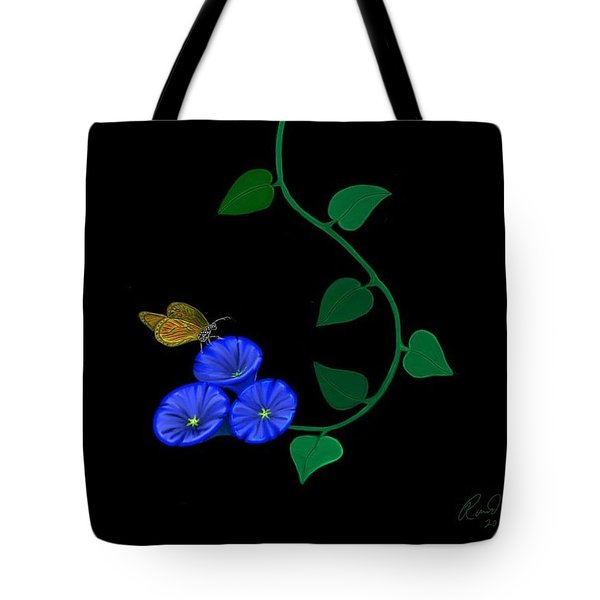 Blue Flower Butterfly Tote Bag by Rand Herron