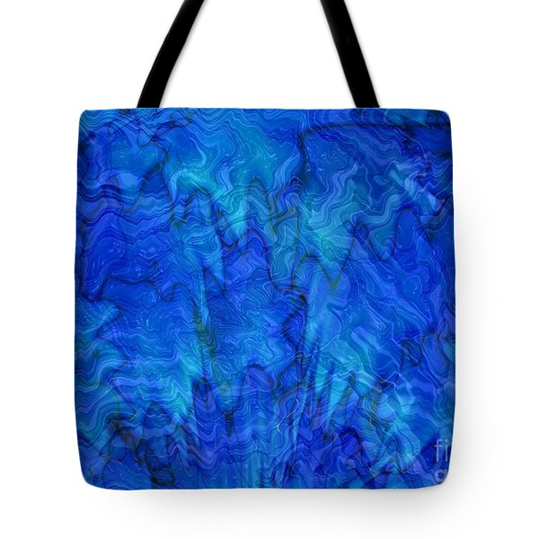 Blue Glass - Abstract Art Tote Bag by Carol Groenen