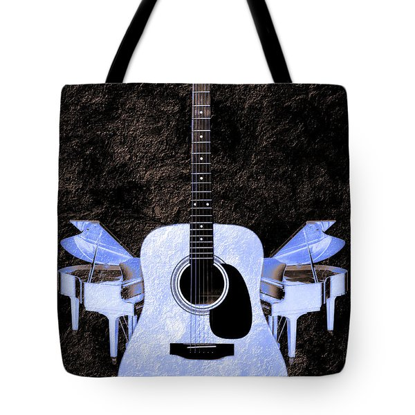 Blue Guitar Butterfly Tote Bag by Andee Design