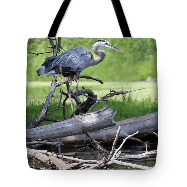 Blue Heron At The Lake Tote Bag by Debbie Hart
