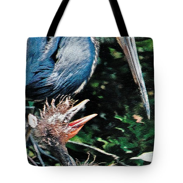 Blue Heron Family Tote Bag by Lydia Holly