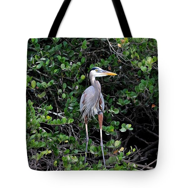 Tote Bag featuring the photograph Blue Heron In Tree by Dan Friend