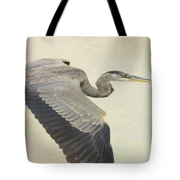 Blue Heron On Canvas Tote Bag by Deborah Benoit