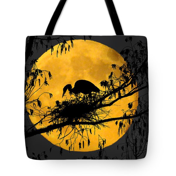 Tote Bag featuring the photograph Blue Heron On Roost by Dan Friend