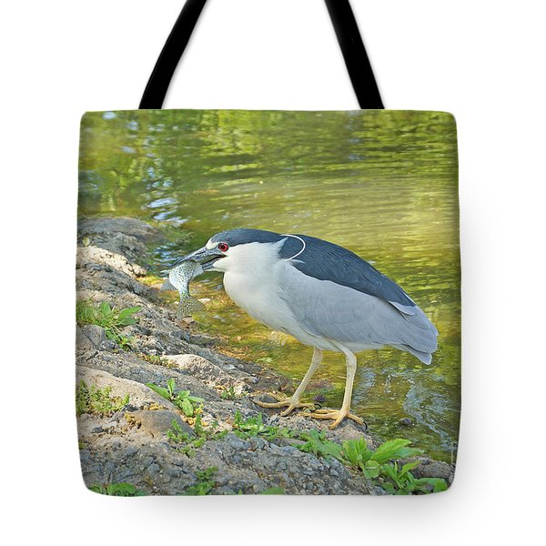 Blue Heron With Fish Tote Bag