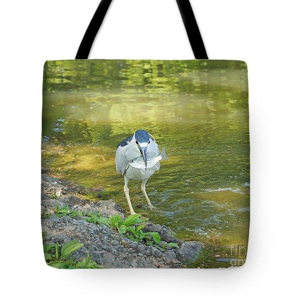 Blue Heron With Fish One Tote Bag by J Jaiam