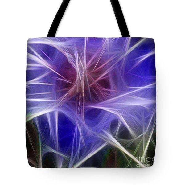 Blue Hibiscus Fractal Panel 2 Tote Bag by Peter Piatt