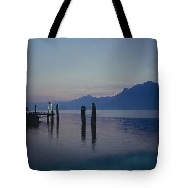 Blue Hour At Dawn On Lago Maggiore Tote Bag by Heiko Koehrer-Wagner