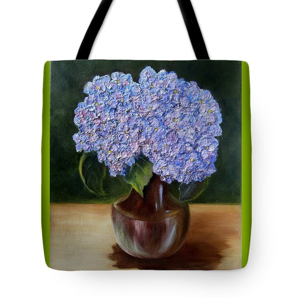 Tote Bag featuring the painting Blue Hydrangea  by Susan Dehlinger