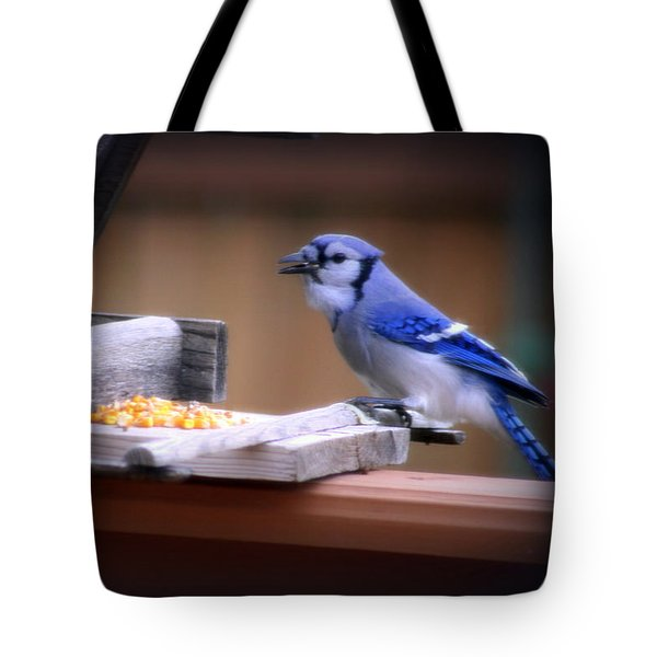 Tote Bag featuring the photograph Blue Jay On Backyard Feeder by Kay Novy