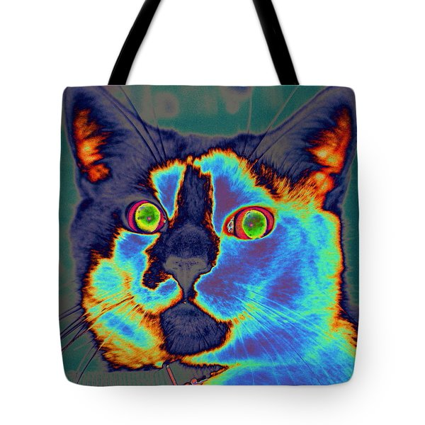 Blue Kitty Tote Bag
