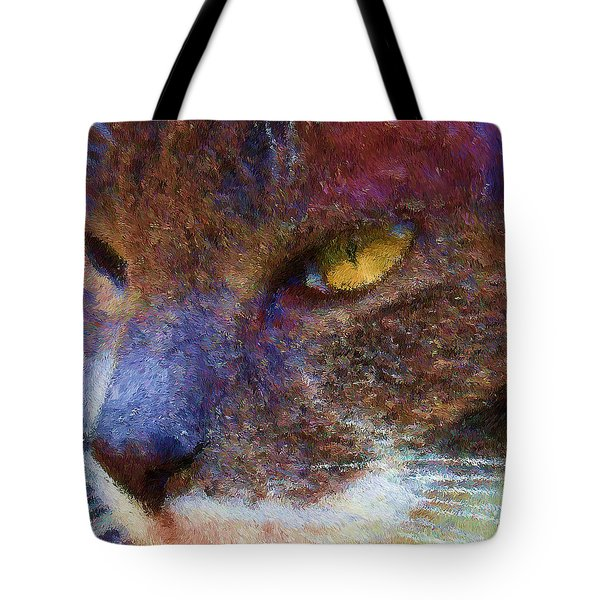 Blue Kitty Tote Bag by Rachel Hames