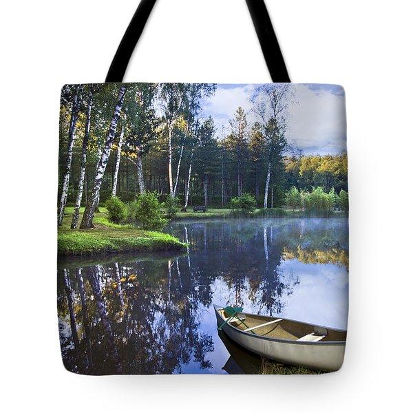 Blue Lake Tote Bag by Debra and Dave Vanderlaan