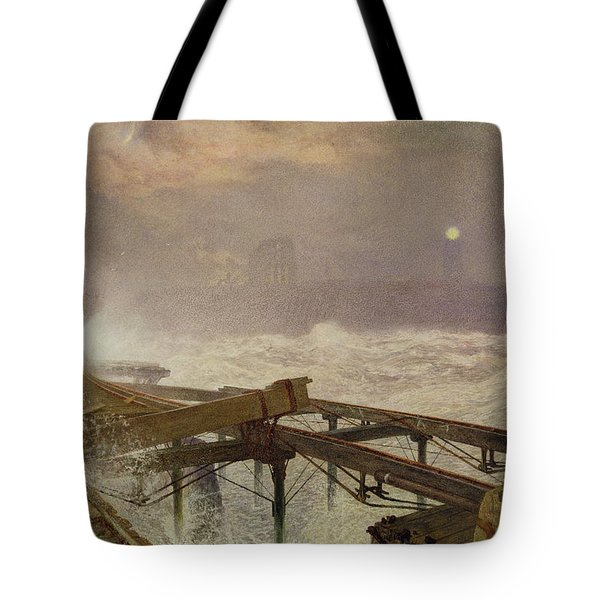 Blue Lights - Teignemouth Pier Tote Bag by Alfred William Hunt