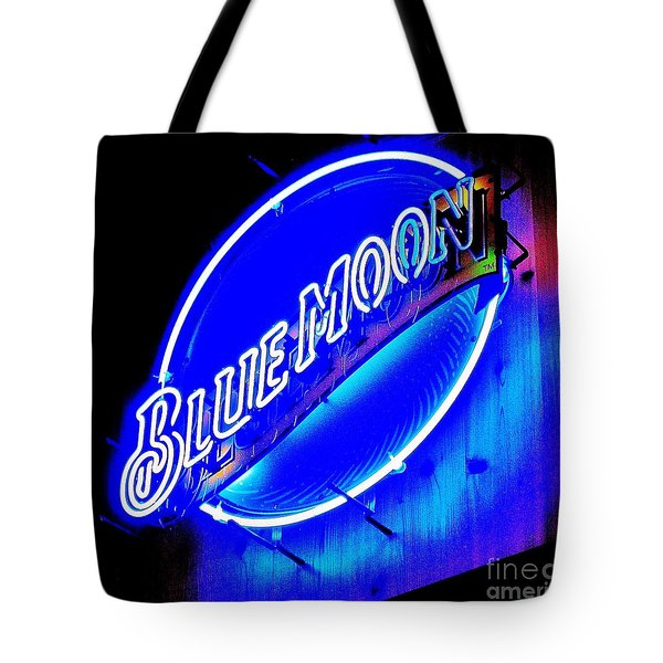 Blue Moo Neon Blue Horseshoe Tote Bag