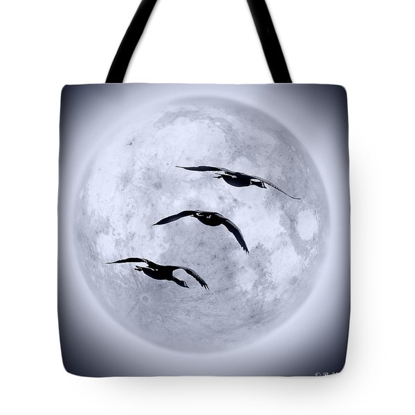 Blue Moon Geese Tote Bag by Brian Wallace