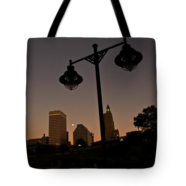 Tote Bag featuring the photograph Blue Moon Over Downtown Providence 1 by Nancy De Flon