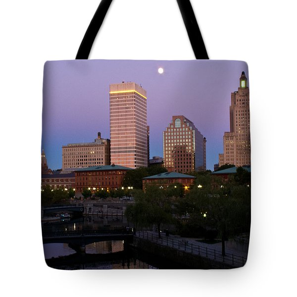 Tote Bag featuring the photograph Blue Moon Over Downtown Providence 2 by Nancy De Flon