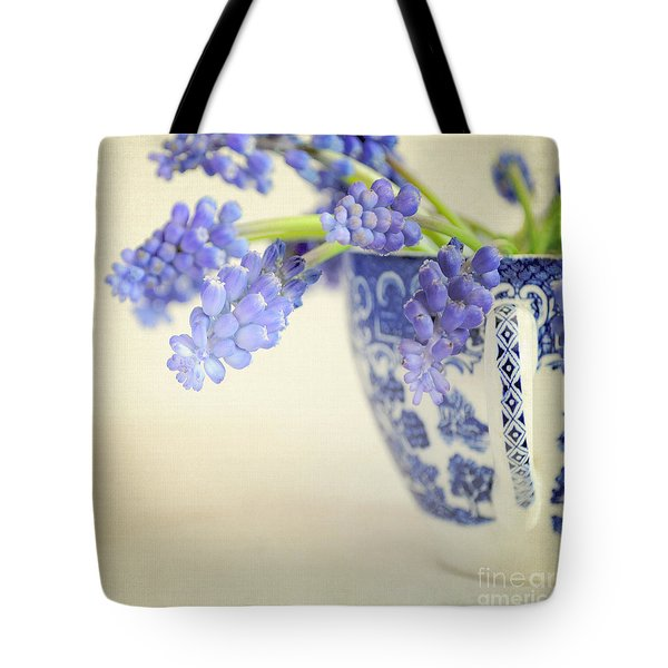 Blue Muscari Flowers In Blue And White China Cup Tote Bag by Lyn Randle