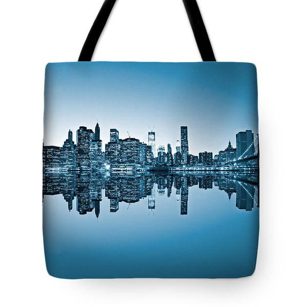 Tote Bag featuring the photograph Blue New York City by Luciano Mortula