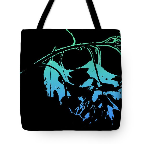 Tote Bag featuring the photograph Blue On Black by Lauren Radke