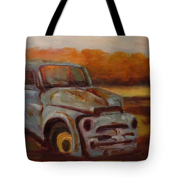 Tote Bag featuring the painting Blue Pickup by Carol Berning