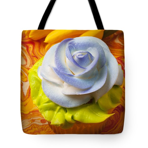 Blue Rose Cup Cake Tote Bag by Garry Gay