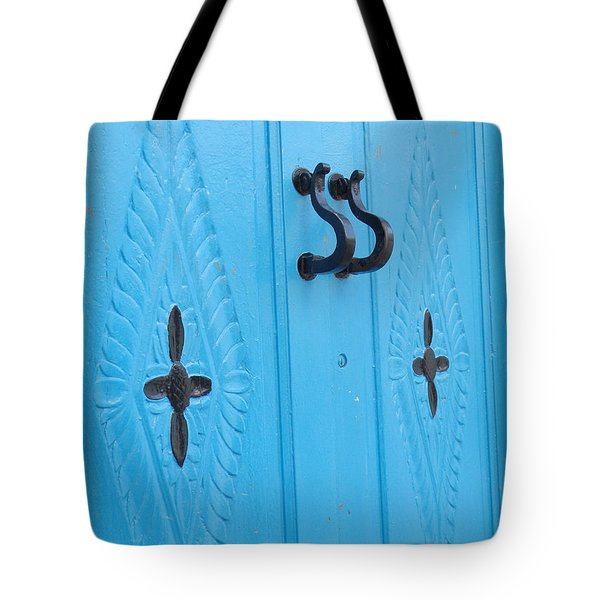 Blue Sidi Bou Said Tunisia Door Tote Bag by Eva Kaufman