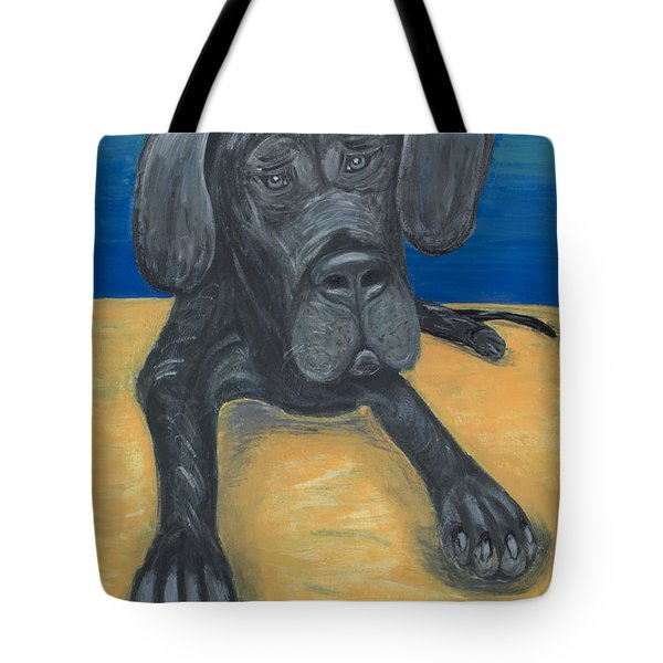 Blue The Great Dane Pup Tote Bag by Ania M Milo