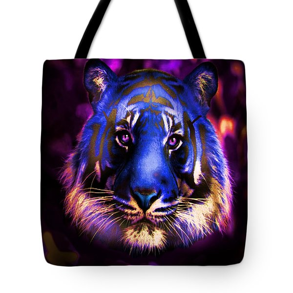 Tote Bag featuring the photograph Blue Tiger Of The Purple Forest by George Pedro