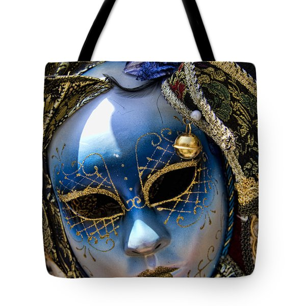 Blue Venetian Mask Tote Bag by David Smith