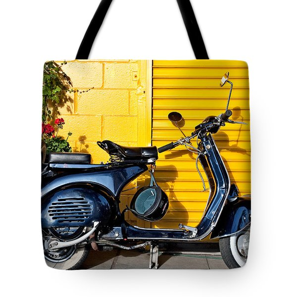 Tote Bag featuring the photograph Blue Vespa Profile by Sonny Marcyan
