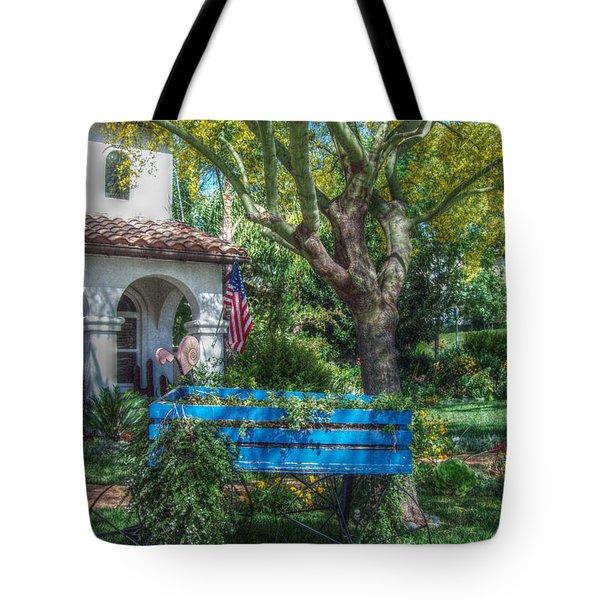 Blue Wagon Tote Bag by Cindy Nunn